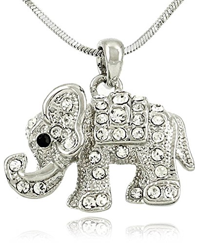 Adorable Little Crystal Elephant Charm Silver Tone Necklace for Girls Teens and Women Clear