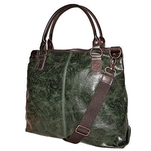 in da Italy Pelle Verde Borsa LISA in Stile Vintage BORDERLINE Made Vera Donna 100 01fqwZ