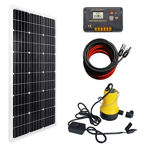 ECO-WORTHY Solar Submersible Pump System Kit, 100W Monocrystalline Solar Panel + Submersible Utility Pump + 20A Controller for Watering Sewage Irrigation Fountain