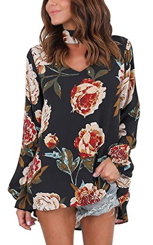 Maglietta Manica Donna Autunno Tomwell Blusa Elegante Nero V Stampato T Camicetta Tunica Moda Collare Shirt Unico Fiore Bohemian Lunga O8w5q