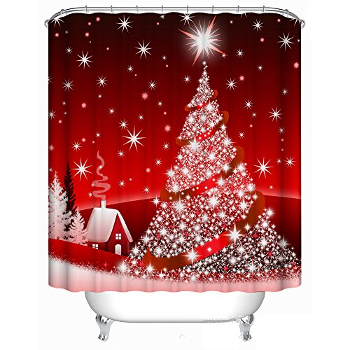 Merry Christmas Fabric (Digital Print Merry Christmas Fabric Shower Curtain,Mildew Resistant and Waterproof,72 X 72 inch with 12 Steel Hooks)