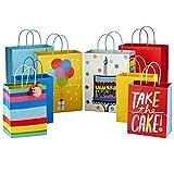 Hallmark - Bolsa de regalo para cumpleaños, Birthday, Stripes, Solids, Variados, 1