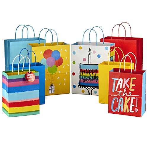 "Hallmark 9"" Medium and 13"" Large Gift Bags Assortment (Pack of 8; 4 Large and 4 Medium) for Birthdays, Baby Showers or Any Occasion"
