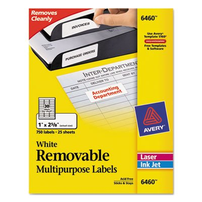 Removable Inkjet/Laser ID Labels, 1 x 2-5/8, White, 750/Pack, Total 5 PK, Sold as 1 (Removable Ink)