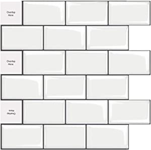 MORCART White Subway Tiles Peel and Stick Backsplash, Stick on Tiles Kitchen Backsplash or Bathroom Backsplash. Strong Adhesive Glue.(6, White with Grey Frame)