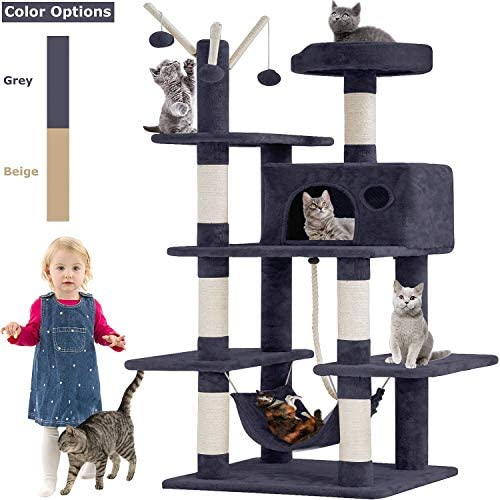 BestPet Cat Tree Tower Condo Playground Cage Kitten Multi-Level 56 inches Activity Center Play House Medium Scratching Post Furniture Plush Perches with Hammock