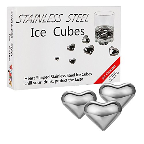 Kollea-Heart-shaped-Stainless-Steel-Chilling-Reusable-Ice-Cubes-W-Tongs-for-Whiskey-Wine-Pack-of-6