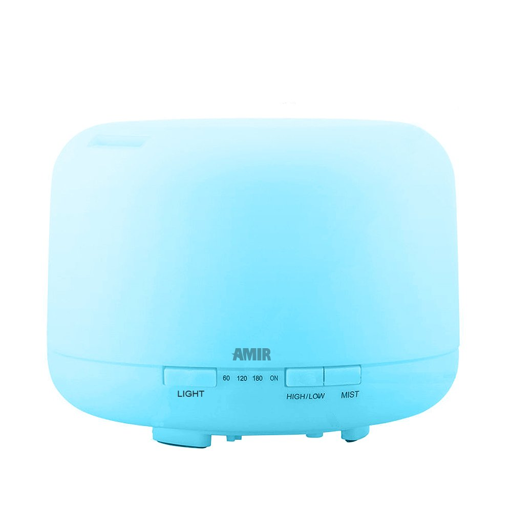 AMIR Oil Diffusers, Oil Diffuser Essential Oils, 500ml Essential Oils Diffuser, Cool Mist Ultrasonic Humidifier with 10 Hours Continuous Mist, 4 Timer Settings,7 changing Color LED lights, for Spa, Baby Room, etc HM5US