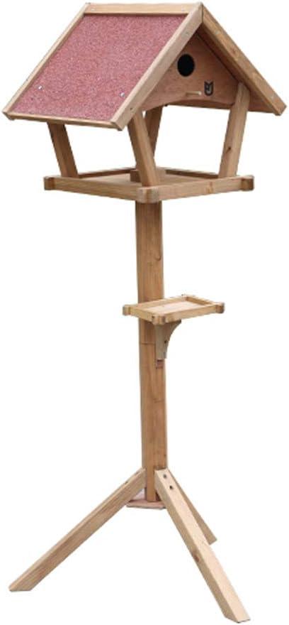 RUNWEI Plataforma De Observación De Alimentación De Aves De Pie, Mesa De Madera Tradicional For Pájaros, Comedero For Pájaros, Estación De Alimentación Protegida, Mesa For Pájaros