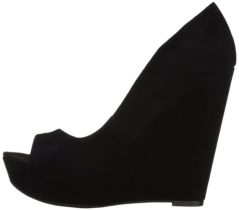 Calaier Mujer Calake Tacón Ancho 14CM Sintético Ponerse Zapatos de Tacón 34|Negro