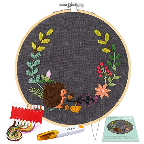 Caydo Full Range Embroidery Starter Kit with Pattern and Instructions, Embroidery Clothes with Hedgehog Pattern, Bamboo Embroidery Hoops, Color Threads and Tools (Gray)