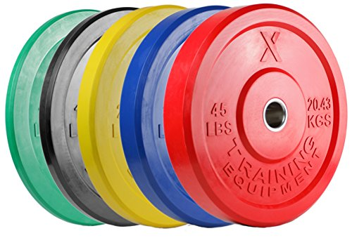 X Training Equipment Premium Color Bumper Plate Solid Rubber with Steel Insert – Great for Crossfit Workouts – DiZiSports Store