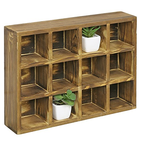 MyGift 12 Compartment Torched Wood Freestanding or Wall Mounted Shadow Box, Display Shelf Shelving Unit