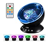 Ocean Wave Projector Night light with Remote Control and SD Card Player Multicolor Lamp Perfect Sleeping and Entertainment Tool for Babies Toddlers and Adults (Black)