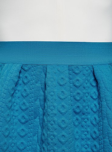 en 7500n Jupe lastique avec Femme Textur oodji Bleu Tissu Ultra Ceinture tagSwH