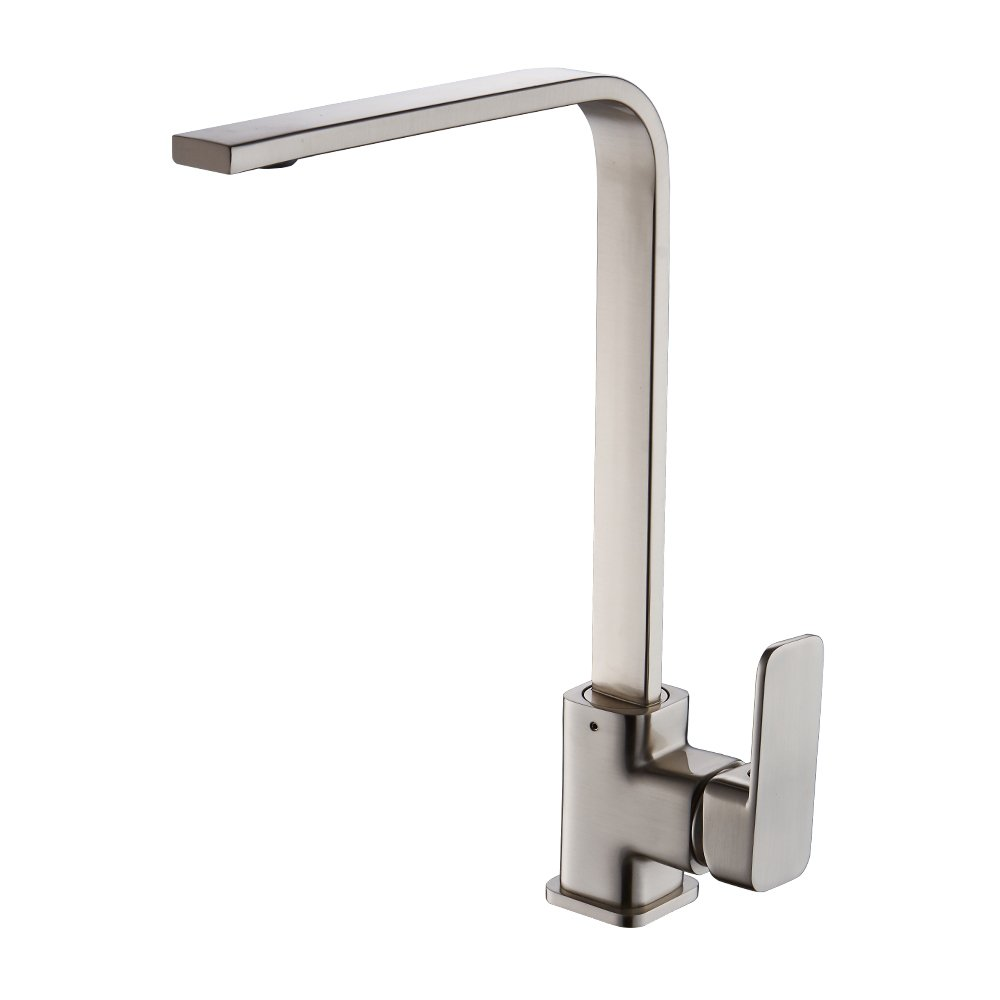 OWOFAN Kitchen Sink Faucet 360 Degree Rotate Spout Contemporary High-arch Hot and Cold Water Mixer Taps Brass Brushed Nickel WF-7119SN by OWOFAN