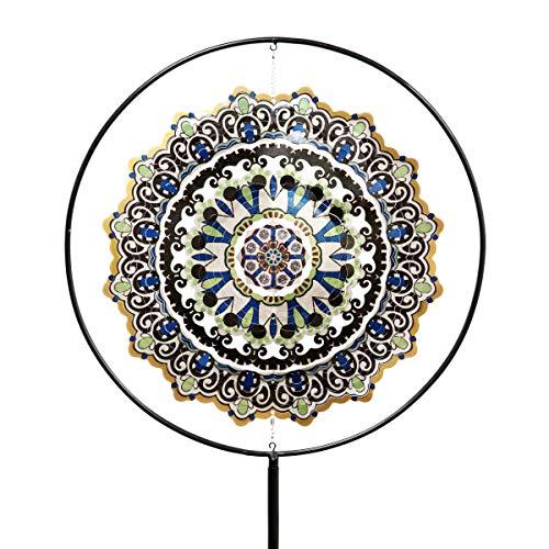 - Exhart Blue Mandala Wind Spinner Garden Stake - Mandala Art Pinwheels Stake in Blue Geometric Pattern 3D Design with Laser Cut Metal Blades, Best as Kinetic Art Yard Decor, 26