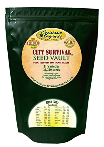 Heirloom Organics NON-GMO City Survival Seed Vault - 21 Varieties - 21,000+ Non-Hybrid City Survival Seeds - Sealed for Long Term Storage by Heirloom Organics (Image #1)