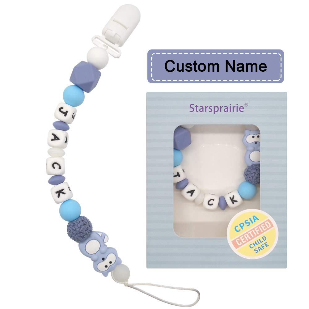 Personalized Dummy Clip Silicon Bead Pacifier Holder Baby Boys Girls ~BPA free