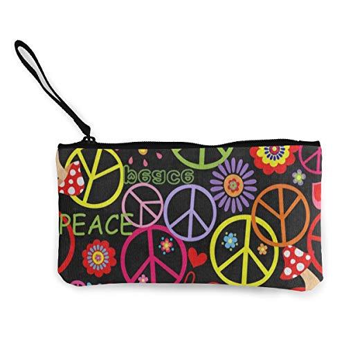 Canvas Coin Purse Hippie Peace Mushroom Colorful Customs Zipper Pouch Wallet For Cash Bank Car ()