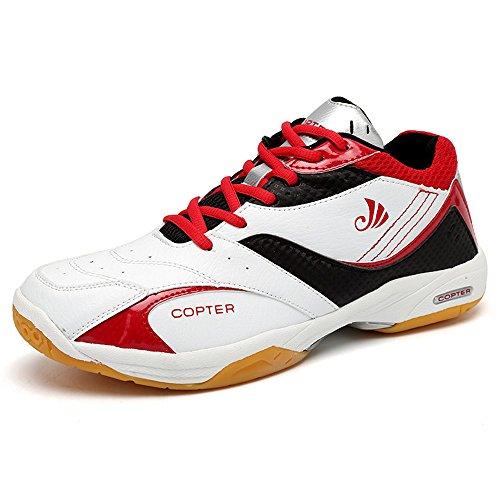 Copter Men's Sneakers Indoor Cross Trainer Shoes Good For( Tennis/Badminton/Racquetball) (US-10.5, Red)
