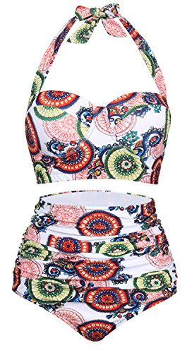 FeelinGirl Women's Vintage Swimsuit High Waist String Bikini Bathing Suit Colorful Circle XL ()