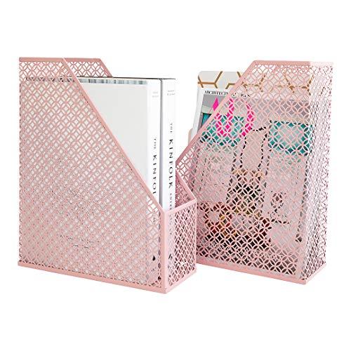 Blu Monaco Office Modern Pink Magazine File Holder Set - Magazine File Box Set of 2 - Pink Metal Magazine Holder Storage Organizer Box