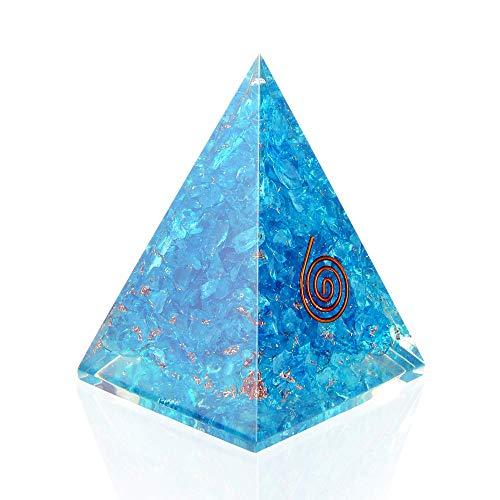 Orgone Pyramid with healing crystal and Stones- Aquamarine Orgone Energy Generator Nubian Pyramid for EMF Protection-chakra balancing-Positive Energy - By Orgonite Crystal