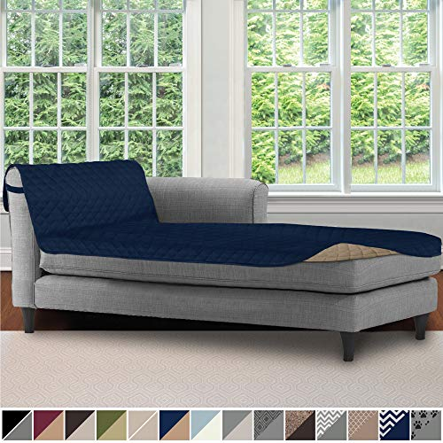 Sofa Shield Original Patent Pending Reversible Sofa Chaise Protector, 102x34 Inch, Washable Furniture Protector, 2 Inch Strap, Chaise Lounge Slip Cover for Pets, Dogs, Kids, Cats, Navy Sand from Sofa Shield