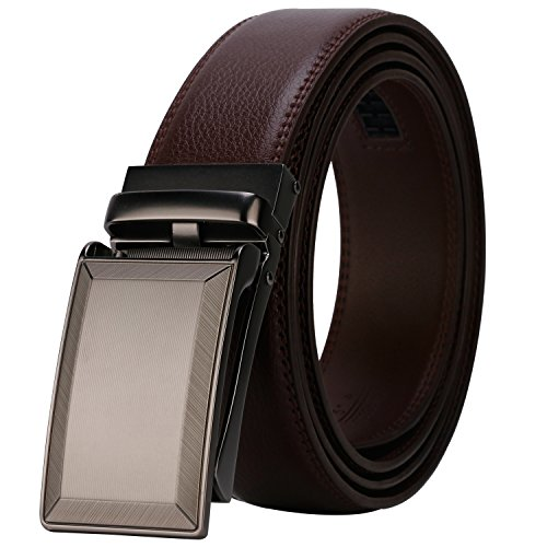 Lavemi Men's Real Leather Ratchet Dress Belt with Automatic Buckle,Elegant Gift Box(55-0287 Brown Leather)