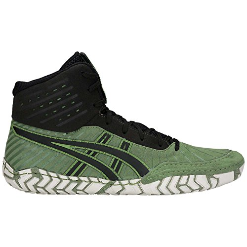 Cedar Four (ASICS Aggressor 4 Men's Wrestling Shoes, Cedar Green/Black, Size 10.5)