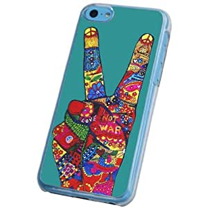 iphone 5C Aztec Floral Love And peace Designer Fashion Trend Case Back COVER PLASTIC-Clear Frame