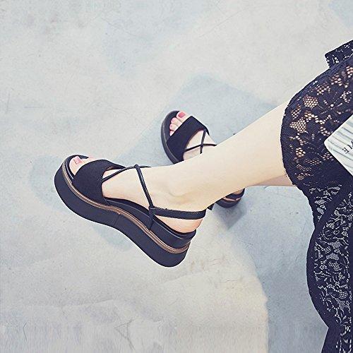 Sandals ZHIRONG Women's Summer Fashion Roman Shoes Waterproof Platform Open Toe Ankle Straps Student Shoes Platform Shoes Beach Shoes 6CM (Color : Black, Size : EU36/UK4/CN36) Black
