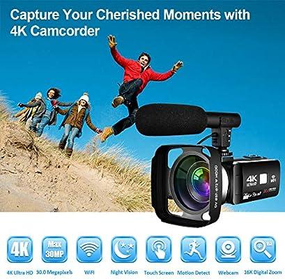 Videocamara Digital con WiFi Videocamara 4K Pantalla táctil de 3.0 ...
