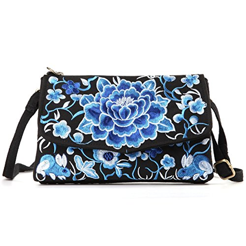 (Goodhan Vintage Printed Handmade Women Mini Crossbody Bag Cellphone Pouch Small Handbag Coin Purse (S04: Bigger - Blue flower) )