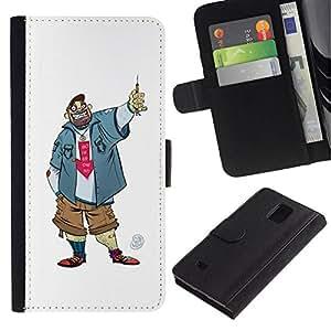 All Phone Most Case / Oferta Especial Cáscara Funda de cuero Monedero Cubierta de proteccion Caso / Wallet Case for Samsung Galaxy Note 4 IV // Dude Guy Man Criminal Smile Caricature