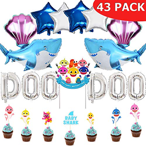 Baby Shark Party Supplies Happy Birthday Set, 43 Pack:1 Big Cake topper, 28 Cupcake toppers, 2 Big Shark Balloons, 2 Shell Balloons, 4 Star Balloons, 6 Letters Balloons,Cake Decor, Baby Shower Party