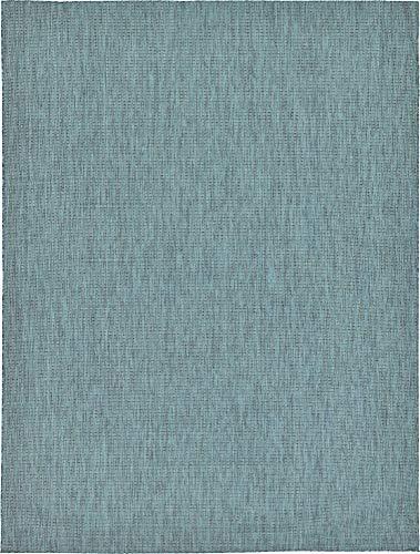 Unique Loom Outdoor Solid Collection Casual Transitional Indoor and Outdoor Flatweave Teal  Area Rug (9' 0 x 12' 0) (Rugs Indoor Outdoor Striped)