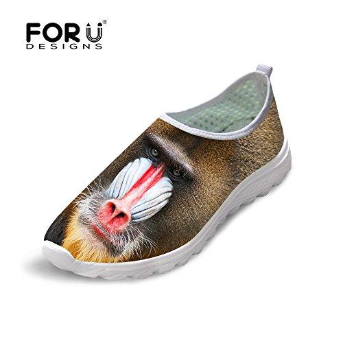 Para U Diseños Cool Animal Print Malla Transpirable Cómodo Slip On Mujeres Y Hombres Zapatillas Para Correr Ape