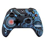 eXtremeRate Circuit Board Patterned Faceplate Cover, Soft Touch Front Housing Shell Case, Comfortable Soft Grip Replacement Kit for Microsoft Xbox One X & One S Controller