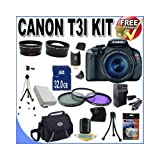 Canon EOS Rebel T3i 18 MP CMOS Digital SLR Camera and DIGIC 4 Imaging with EF-S 18-55mm f/3.5-5.6 IS Lens +58mm 2x Telephoto lens + 58mm Wide Angle Lens (3 Lens Kit!!!!!!) W/32GB SDHC Memory+ Extra Battery/Charger + 3 Piece Filter Kit + Full Size Tripod + Case +Accessory Kit !, Best Gadgets