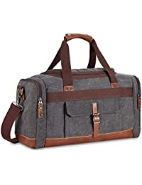 Canvas Travel Duffel Bag Large Weekend Bag Overnight Tote Carry on Bag Genuine Leather Trim