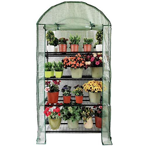OUTOUR Wider 35x19.6x66.5in 4 Tier Wider Portable Plant Mini Greenhouse Green House with Casters, for Growing Seeds, Seedlings, Tending Potted Plants, Garden Gardening Indoor Outdoor ()