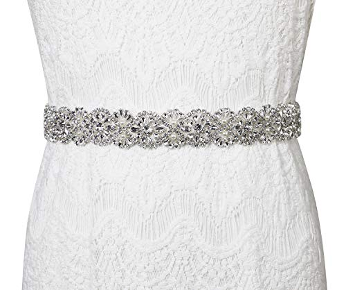 Lovful Women's Ribbon Belt for Dress Crystal Diamond Bridal Sashes Belt,white rhinestone wedding -