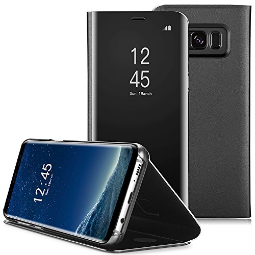 Galaxy S8 Case, AICase Luxury Translucent View Window Sleep/Wake Up Function Cover Mirror Screen Flip Electroplate Plating Stand Full Body Protective Case For Samsung Galaxy S8(Black) (Phones Flip Cell Up)