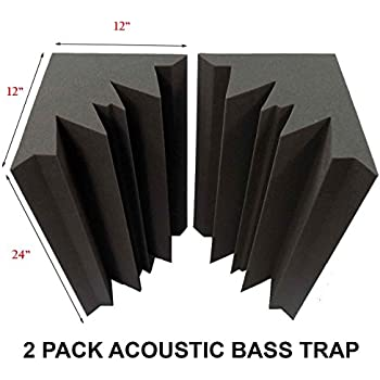 "Set of 2 - Acoustic Foam Bass Trap Studio Soundproofing Corner Wall 12"" X 12"" X 24"""