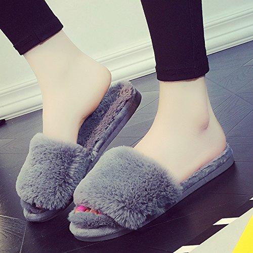 donne 41 indoor pantofole caldo Cartoon antiscivolo grigio habuji inverno cotone inverno 40 carino home di pantofole q6wFxw5