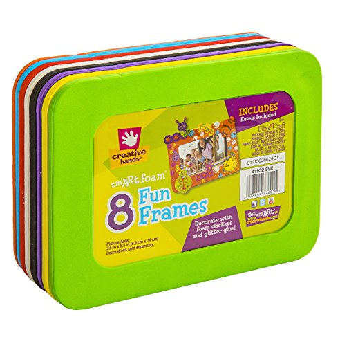 Foam Frames 3-1/2-Inch-by-5-1/2-Inch Rectangle 8-Pack, Assorted Colors
