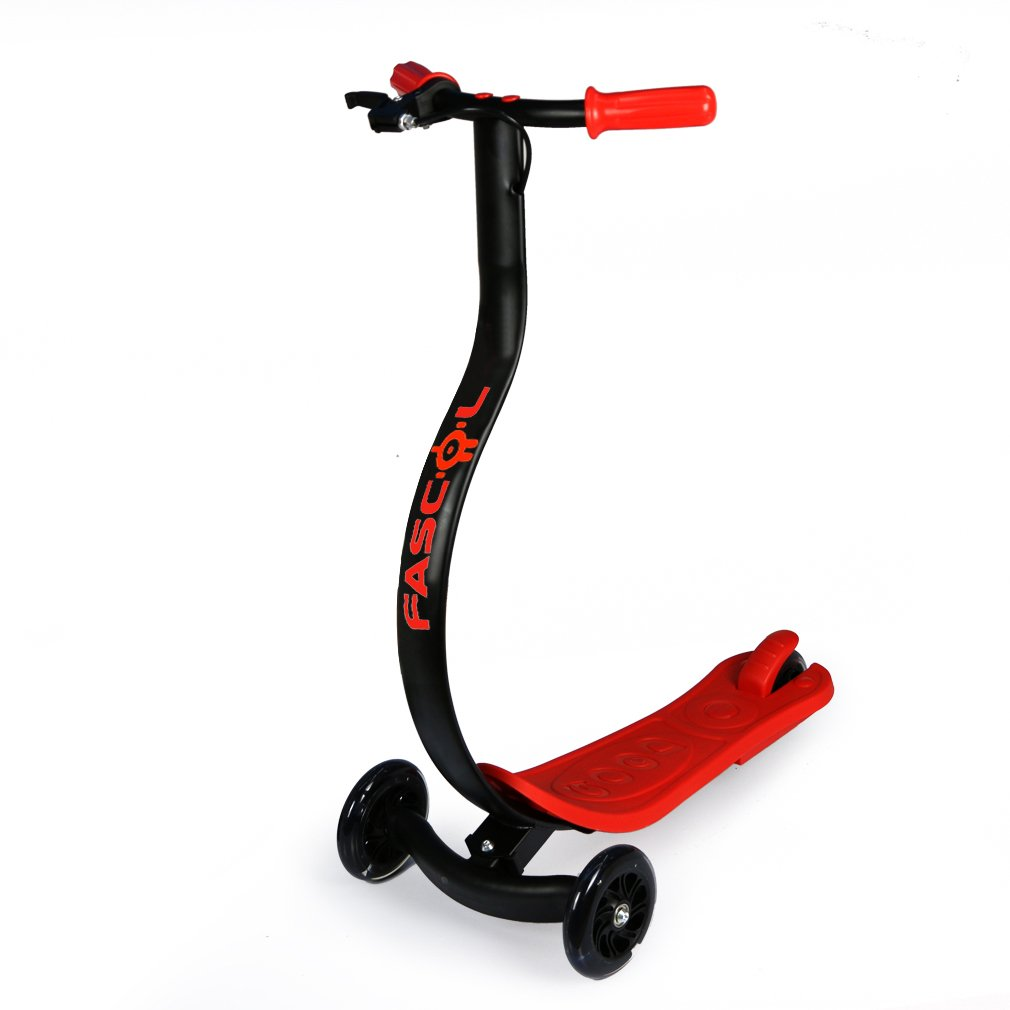 Fascol Klappbar Roller 3-Rad Scooter LED Räder groß für Junge Leute Kinder 7 bis 15 Jahre Max. Belastung 75 kg, Rot Fascol Business Store