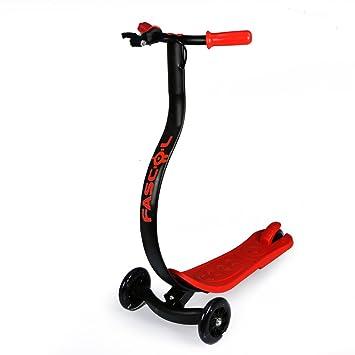 Dragón-estilo Freestyle Patinete para niños entre 3 y 12 años, ABEC-7 Cojinetes, Grandes Ruedas de Poliuretano [rojo]